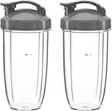 32oz Replacement Cups with Flip Top To Go Lid for NutriBullet 600w and Pro 900w Blender (2 Pack) by Preferred Parts