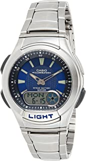 Casio Men's Blue Dial Stainless Steel Analog-Digital Watch - AQ-180WD-2AVDF