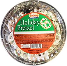 Zachary Holiday Yogurt Covered Pretzels 14 Ounce! Crisp Pretzels Covered In Creamy Yogurt With Green And Red Strips! Delicious and Tasty Colorful Christmas Pretzels!