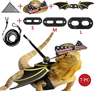 Bearded Dragon Leash And Harness Hammock Hat Patriotic Clothes Set - Bearded Dragon Hammock Lounger, 3 Pack Lizard Reptile Harness With Wings, Rattan Hat With American Flag