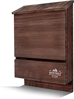 Outer Trails 2 and 3 Chamber Bat House Habitat, Prestained and All Natural Cedar Wood, with Easy Install Hardware Included