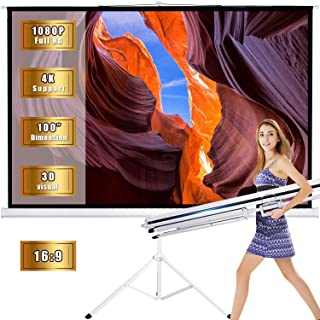 Projector Screen with Stand Outdoor Portable Pull Down Movie Screen 100 inch for Home Theater 1.3 Gain 16:9 160 Gegree Viewing Angle (White)