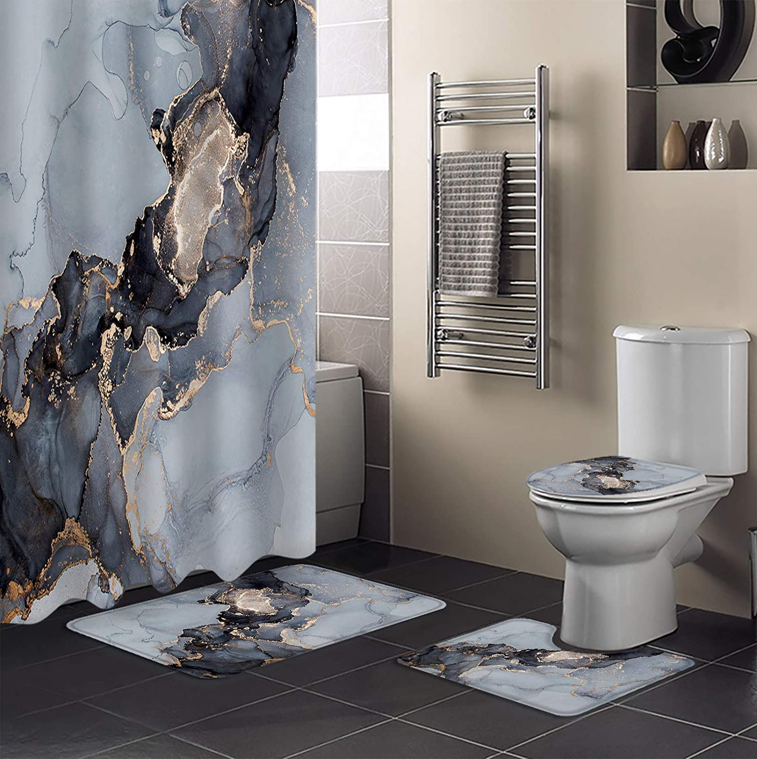 4 Piece Shower Curtain Outlet ☆ Free New product!! Shipping Sets Abstract Phnom Pe Marble Texture Ink