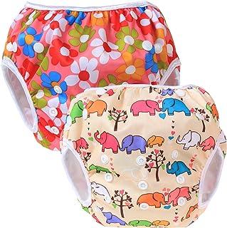 Teamoy Pañal Bañador (2 piezas) Pañal de natar Pantalones de entrenamiento,Flor rosa+elefante