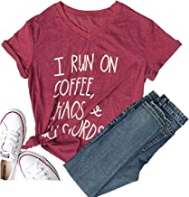 Women Gobble Til You Wobblel I Run On Coffee Chaos Cuss Words Short Sleeve Graphic Tees Funny T Shirts Cute Summer Tops