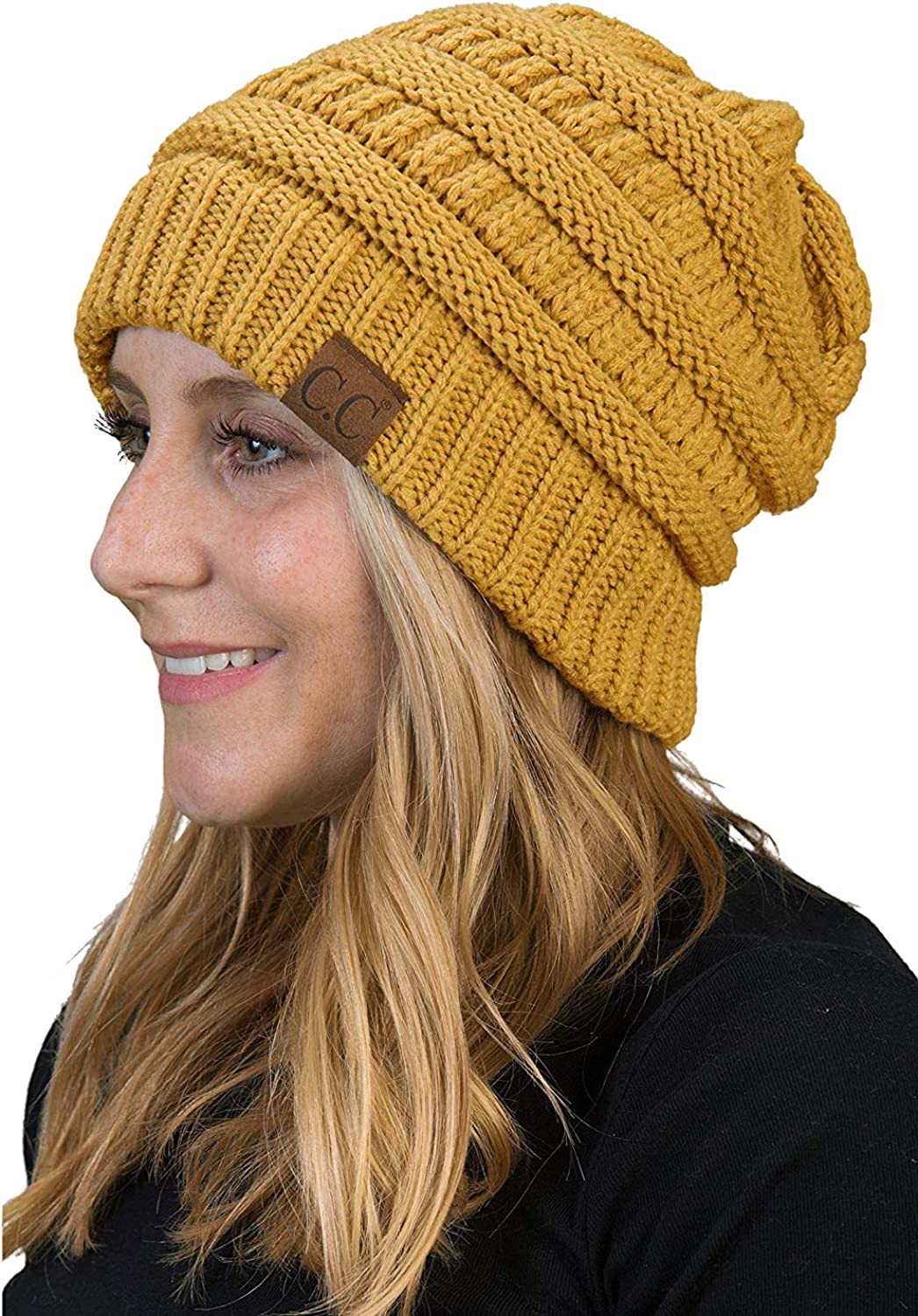 Funky Junque Solid Ribbed Max 46% OFF Beanie Cable Knit Slouchy Stretch San Antonio Mall Soft