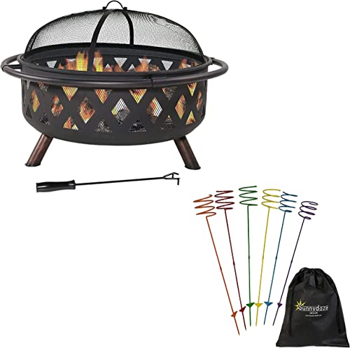 high quality Sunnydaze 36-Inch Diameter Crossweave Black Metal Outdoor discount Fire Pit with Spark Screen, Poker, outlet sale Fireplace Cover and Set of 6 Heavy-Duty Multicolored Outdoor Drink Holder Stakes Bundle sale