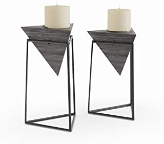 Alavus Set of 2 Modern Black Triangular Wooden Candle Holders with Stands Mid-Century Scandinavian Iron