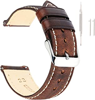 Sponsored Ad - Vintage Leather Watch Band EACHE Watch Strap Oil Wax/Discolored Litchi Grain Genuine Leather Replacement Wa...