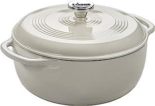 Lodge 6 Quart Enameled Cast Iron Dutch Oven. White Enamel Dutch Oven (Oyster White)