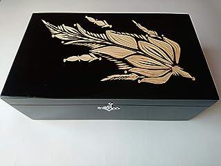 Caja de almacenaje negro enorme grande especial joyeros caja de madera tallada mano caja del té del café del regalo
