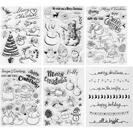 Kesote 70 Pcs Noël Tampons Transparent Sceau Silicone Forme de Père Noël, Arbre de Noël, Renne, Bonhomme de Neige pour DIY Scrapbooking Décoration Album
