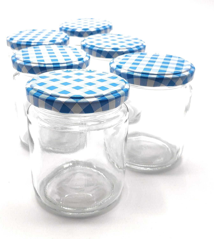 GET-GREEN Botes de Conserva con Tapa Metálica a Rosca Azul y Blanca. 6 Unidades de Tarros de Cristal de 250ml. Bonitos y Elegantes. Ø 70,5mm