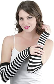 ToBeInStyle Women's Striped 100% Nylon Arm Length Warmers