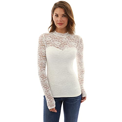 75cd67dab PattyBoutik Women Floral Lace Mock Neck Inset Sweetheart Blouse