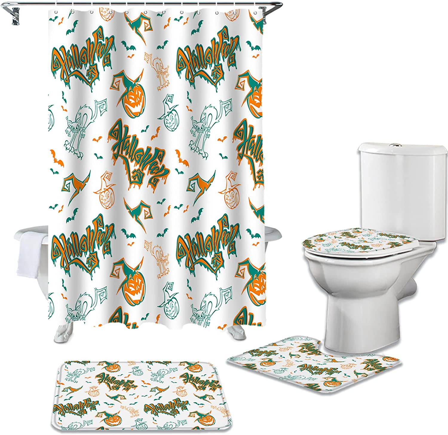 Olivefox Alternative dealer 4 Piece Shower Curtain Set Daily bargain sale R Non-Slip Bathroom with for