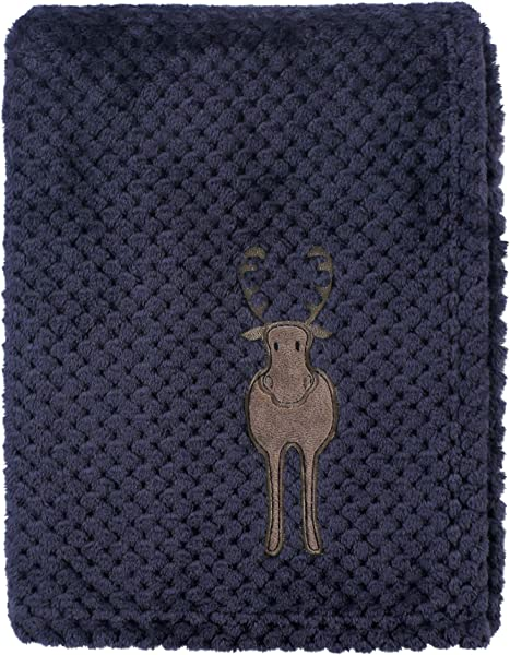 Hudson Baby Unisex Baby Plush Waffle Blanket Moose