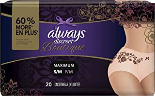 Always Discreet Boutique Incontinence & Postpartum Underwear for Women, Disposable, Maximum Protection, Peach, Small/Medium, 20 Count (Packaging May Vary)