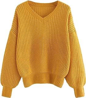Women's Loose V Neck Drop Shoulder Long Sleeve Jumper Sweater