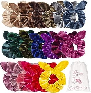 20 Pack Bow Hair Scrunchies Rabbit Bunny Ear Bowknot Scrunchie Velvet Hair Bands