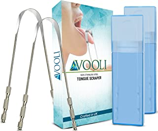 Tongue Scraper 2 Pack - Tongue Cleaner 100% Stainless Steel Tounge scrapers Tongue Scrapers for Adults - Best Tongue Clean...