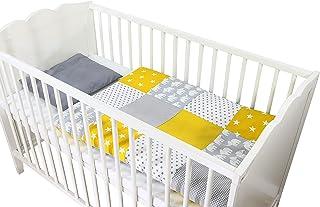 Conjunto de ropa de cuna de ULLENBOOM ® con elefantes amarillo (juego de 2 piezas para cuna: funda de almohada de 35x40 cm y funda nórdica de 80x80 cm)