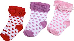 Jefferies Socks - Ruffle Hearts Triple Treat (Infant/Toddler/Little Kids)