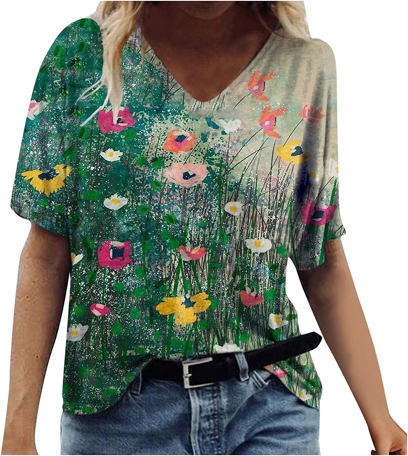 Womens Short Sleeve Tops, Womens Summer T-Shirts Abstract Vintage Print Casual V-Neck Blouse Tops Tunics Graphic Tee