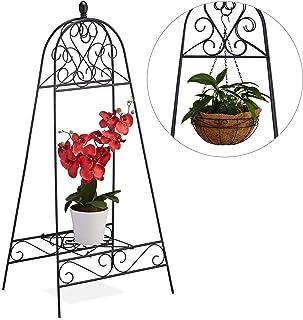 Relaxdays Etagère pour Fleurs, avec Crochets, Support Pots de Plantes, Balcon, Jardin, Acier,HlP 109x50x40,5 cm, Noir, 1 é...