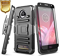 Moto Z2 Force Case with Tempered Glass Screen Protector (Full Coverage), NageBee Belt Clip Holster Built-in Kickstand Heavy Duty Shockproof Combo Rugged Armor Case for Motorola Moto Z2 Force -Black