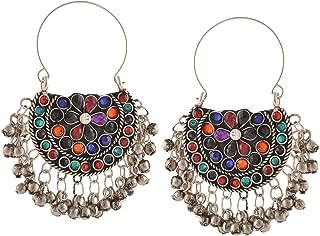 Fashion Oxidized Silver Afghani Tribal Dangler Hook Chandbali Earrings