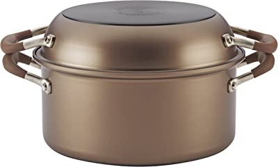 Anolon 83868 Advanced Hard Anodized Nonstick Stockpot / Dutch Oven with Frying / Skillet Pan - 5 Quart and 11 Inch, Bronze Brown