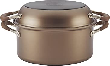 Anolon 83868 Advanced Hard Anodized Nonstick Stockpot/Dutch Oven with Frying/Skillet Pan - 5 Quart and 11 Inch, Bronze Brown