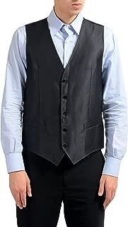 Dolce & Gabbana Men's Silk Wool Black Button Up Dress Vest US 40 IT 50
