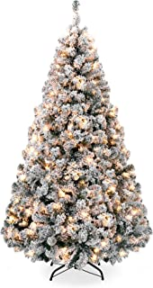 Best Choice Products 9ft Pre-Lit Snow Flocked Hinged Artificial Christmas Pine Tree Holiday Decor w/ 900 Warm White Lights
