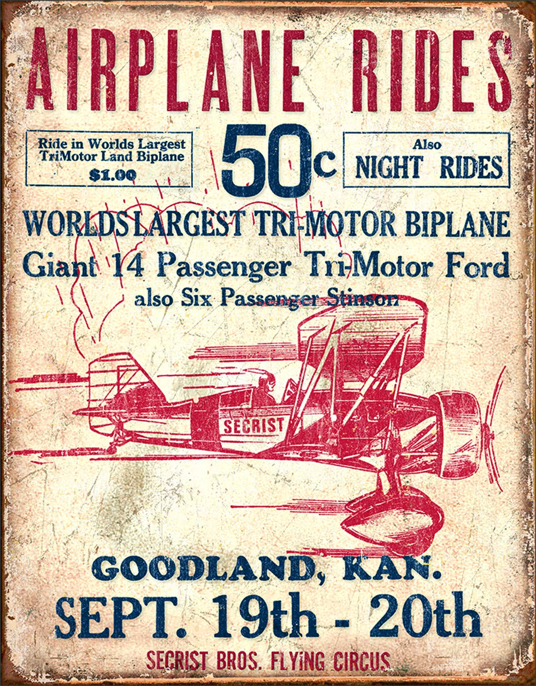 Desperate Enterprises Secrist Flying Circus Tin Sign 12 5 W X 16 H Buy Online In Burkina Faso At Desertcart Productid 22987470 Desperate enterprises has been in business for over 20 years as the leading producer of nostalgic. desertcart