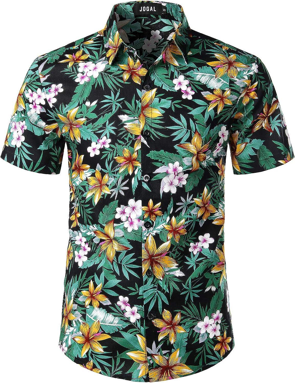JOGAL Men's Flower Cotton Button Down Short Sleeve Hawaiian Shirt