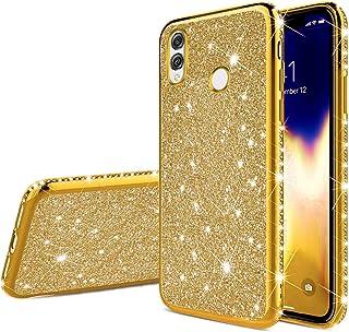 JAWSEU Bling glitter fodral kompatibelt med Huawei Honor 10 Lite/P Smart 2019, gnistrande glänsande diamanter design mjuk ...