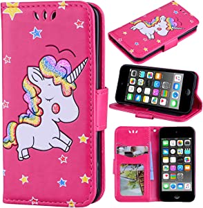 Ranyi iPod Touch 7 Case, iPod Touch 6 Case, iPod Touch 5 Case, Cute 3D Glitter Bling Unicorn Embossed [Flip Magnetic Wallet] PU Leather Folio Wallet Case for iPod Touch 5 6 7th Generation (hot Pink)