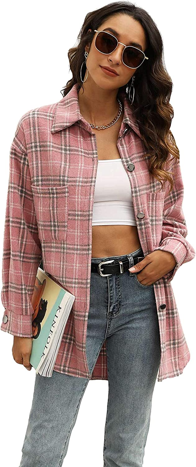 Yeokou Women's Vintage Plaid Flannel Brushed Wool Blend Button Down Shacket Shirts