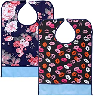 VoiceFly 2 Pack Adult Bibs Resuable Waterproof Clothing Protector with Crumb Catcher, Machine Washable Large Extra Long Mealtime Protector Dining Bibs(Flower+Lip Prints)