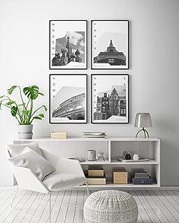Pack de 4 láminas para enmarcar colección Coordinates (Láminas Ciudades - Viajes)   MOSCÚ, PARÍS, Roma y Amsterdam   Tamaño 20x30cm
