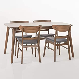 Christopher Knight Home Helen Mid Century Fabric & Wood Finish 5 Piece Dining Set (Walnut/Dark Grey)
