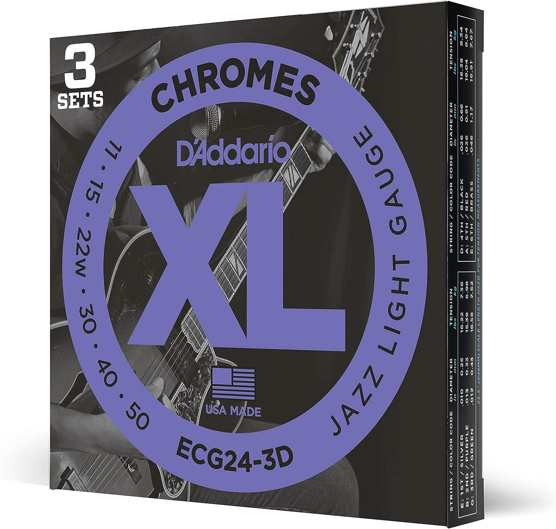 D'Addario ECG24-3D Chromes. Cuerdas para guitarra eléctrica de entorchado plano, calibre jazz fino, 11-50, 3 juegos