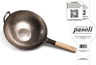 pasoli Wok | Fond plat | Pour cuisinière (y compris induction) | 30 cm de diamètre | Wok traditionnel en acier au carbone ...