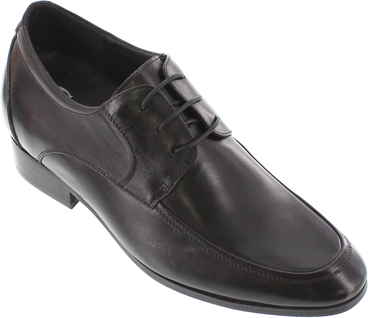 CALTO Men's Invisible Height Increasing Elevator Dress shoes - Black Leather Lace-up Lightweight Formal Loafers - 2.8 Inches Taller - G6175
