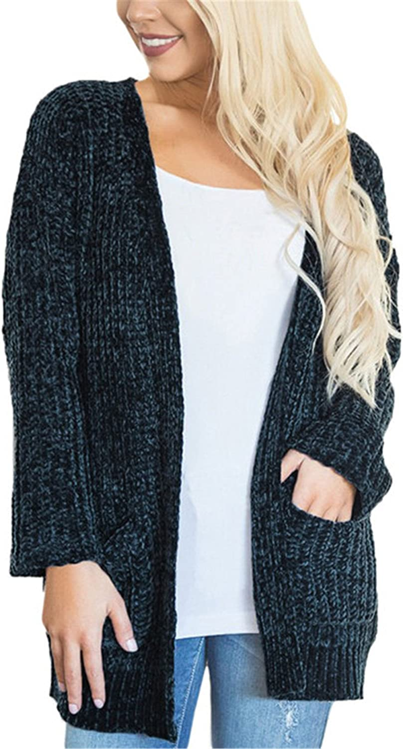 Blibea Womens Casual Open Front Chunky Knitted Sweater Cardigan with Pockets