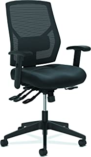 The HON Company SB11.T HON Crio High Task Leather Mesh Back Computer Chair with Asynchronous Control for Office Desk, Black (HVL582), Multi-Function