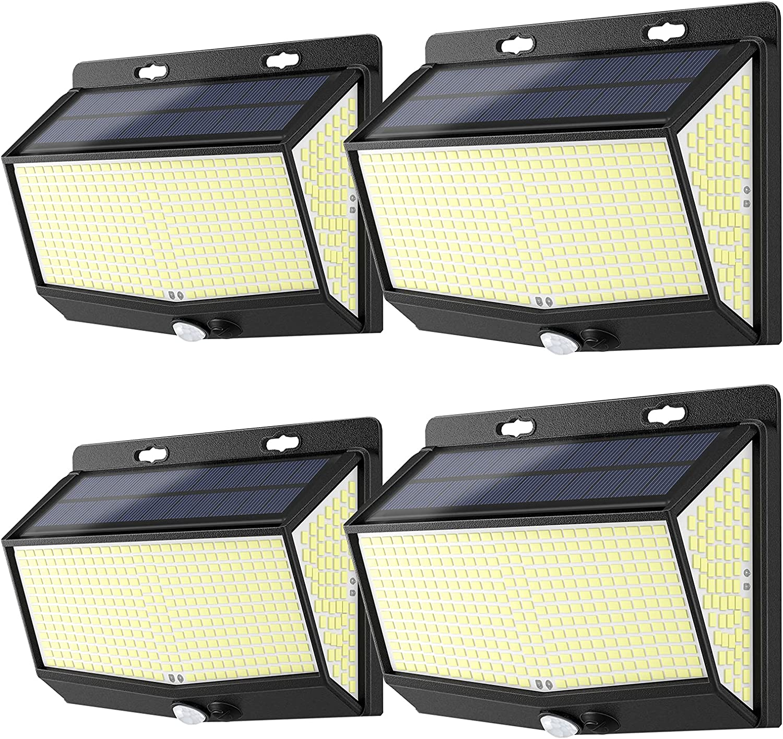 2021 New 468 LED Solar Lights 4 Sensor OFFer Pack Outdoor Motion Max 67% OFF