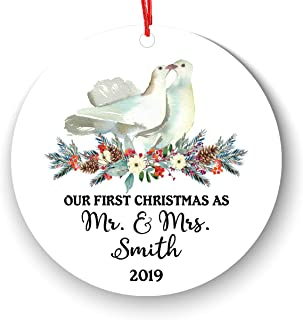 First Christmas as Mr & Mrs Ornament 2019 2020, Personalized Love Birds 1st Married Christmas Ornament, Our First Newlywed Just Newly Wed Tree Family Name Year Text Custom